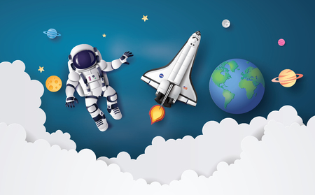 Astronaut Astronaut floating in the stratosphere . Paper art and craft style.