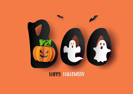 Paper art of Happy Halloween,Poster, banner or background Illustration