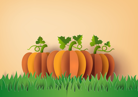 Yellow pumpkin on the green field , Paper art and craft style. Illustration