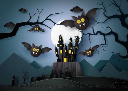 Paper art of Happy Halloween with bats flying in the darknight.