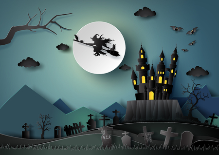 Halloween party, witch riding a broom flying in the sky with full moon night background.