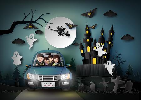 Familia conduciendo en coche con fantasma y cementerio en estilo de arte de luna llena. Ilustración de vector