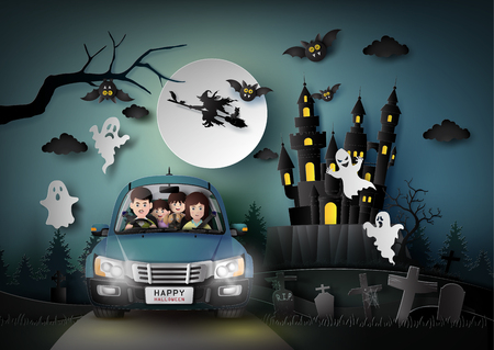 Family driving in car with ghost and graveyard in fullmoon.paper art stlye. Иллюстрация