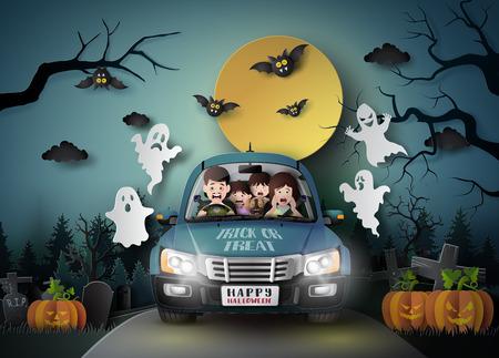 Famille conduisant en voiture avec fantôme et cimetière à fullmoon.paper art stlye.