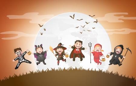 Feliz fiesta de Halloween con niños del grupo en disfraces de Halloween. Ilustración de vector