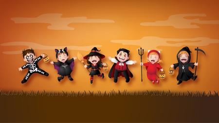 Feliz fiesta de Halloween con niños del grupo en disfraces de Halloween. Ilustración de arte en papel Ilustración de vector