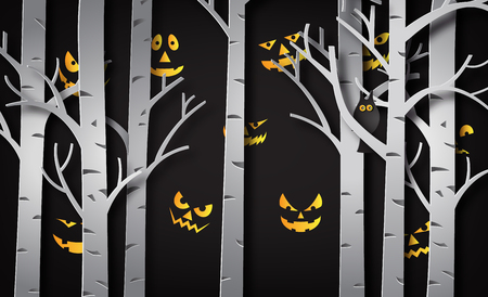 Paper art of happy halloween, Devil eye behind the tree