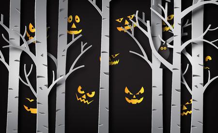 Papierkunst von glücklichem Halloween, Teufelsauge hinter dem Baum Vektorgrafik