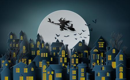Arte cartacea di felice halloween, strega a cavallo di una scopa che vola nel cielo sopra il villaggio abbandonato