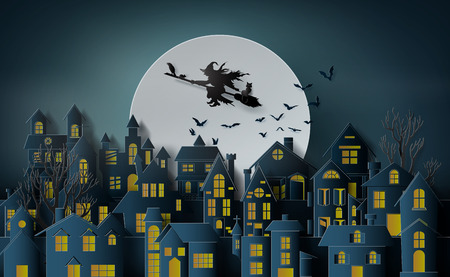 Paper art of happy halloween, Witch riding a broom flying in the sky over the abandoned village