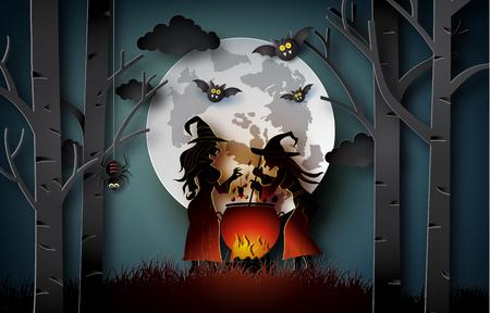 Arte di carta di buon halloween, streghe cucinano in una grande caldaia nella foresta. Vettoriali