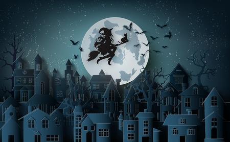 Papierkunst van happy halloween, heks die op een bezem rijdt die in de lucht boven het verlaten dorp vliegt