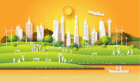 Concept of eco friendly and save the earth and world environment day with the people enjoy in the city park sunset time, paper art and digital craft style