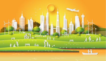 Concepto de eco amigable y salvar la tierra y el día mundial del medio ambiente con la gente que disfruta en el parque de la ciudad, la hora del atardecer, el arte en papel y el estilo de artesanía digital.