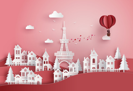concept de la saint-valentin et du mariage, couple amoureux s'embrassant dans un panier de ballon à air chaud coeur survolant le village, art du papier et artisanat numérique.