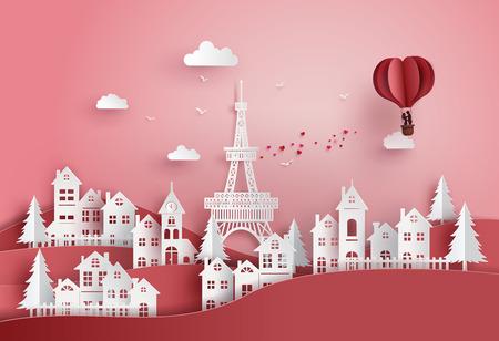 concepto de día de San Valentín y boda, pareja de enamorados abrazándose en una canasta de corazón, globo aerostático sobrevolar el pueblo, arte en papel y artesanía digital.