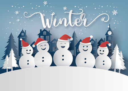 Winter season and Merry Christmas with snow man, paper art concept Ilustração
