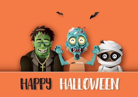 Paper art of Happy Halloween Illustration