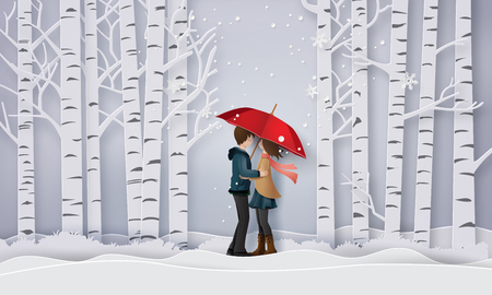 Illustration of Love and winter season, lovers are hugging in the forest with snow. Paper art and craft style.
