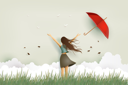 Illustration of woman's day, funny beautiful girl and red umbrella on the field. Paper art and craft style.