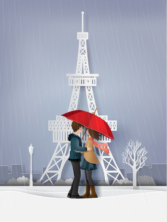 Illustration of Love and rainy season, lovers are hugging in the garden with snow. Paper art and craft style.