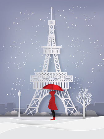 Winter season with the girl open red an umbrella, paper art and craft style.