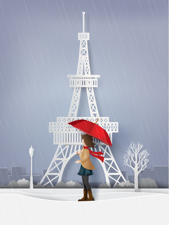 Rainy season with the girl open red an umbrella, paper art and craft style.