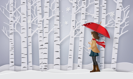 Season with the girl open red an umbrella, paper art and craft style.