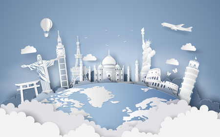 Illustration of world tourism day, Paper art stlye. Ilustracja