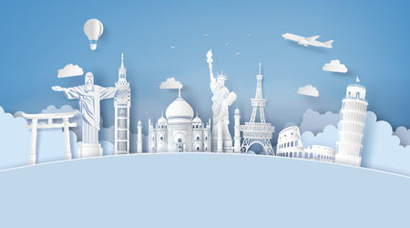 Illustration of world tourism day, Paper art stlye. Vectores