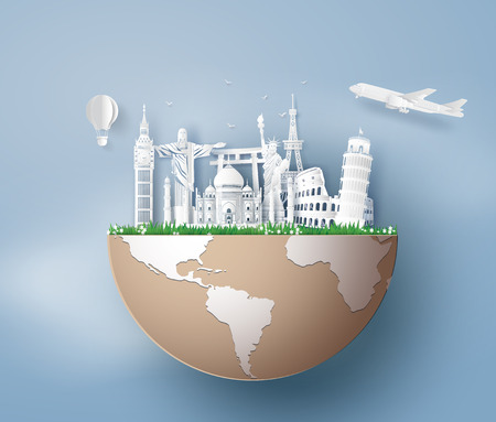 Illustration of world tourism day, Paper art stlye. Stock Illustratie