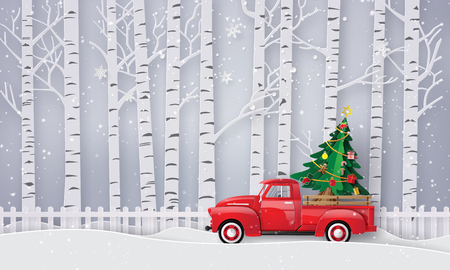Peper art of Merry Christmas and winter season with red truck carry christmas tree. Standard-Bild - 113771617