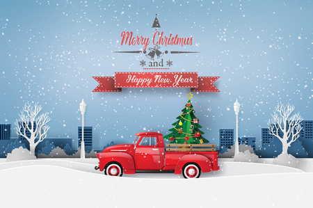 Peper art of Merry Christmas and winter season with red truck carry christmas tree. Banque d'images - 113771629