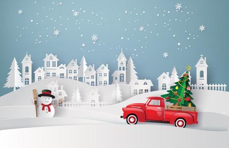 Peper art di buon Natale e stagione invernale con camion rosso portano l'albero di natale.