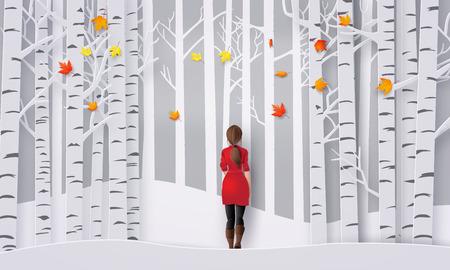 Woman wearing red dress walking in the park.autumn season Illustration