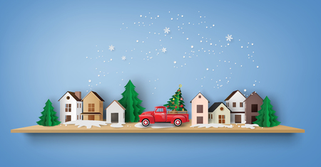 Merry Christmas and Happy New Year. Illustration of red truck in the village,paper art and craft style Illustration