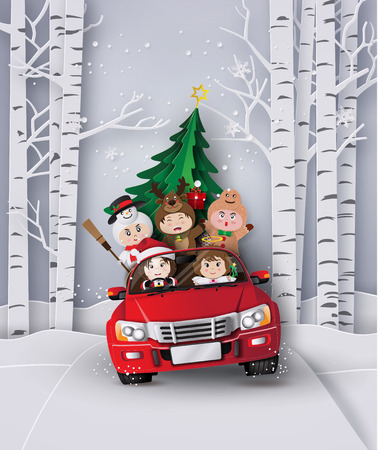Paper art  of Merry christmas and winter  with children on red car.