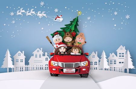 Paper art  of Merry christmas and winter  with children on red car.in the village. 向量圖像