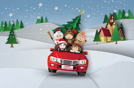 Paper art of Merry christmas and winter with children on red car.in the village.