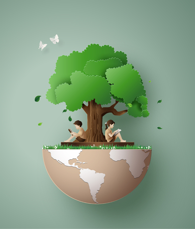 Concepto de ecología y medio ambiente con niños leyendo un libro debajo de un árbol. Arte de papel 3d del estilo de artesanía digital.