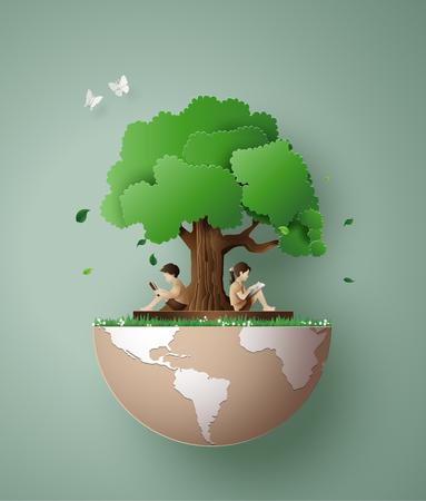 Konzept der Ökologie und Umwelt mit Kindern las ein Buch unter dem Baum. Papierkunst 3d aus dem digitalen Handwerksstil.