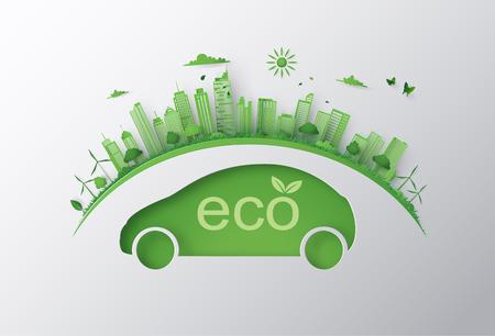 Konzept von Öko-Auto und Umwelt mit grüner Stadt auf der Erde. Papierkunst 3d aus digitalem Handwerk. Vektorgrafik