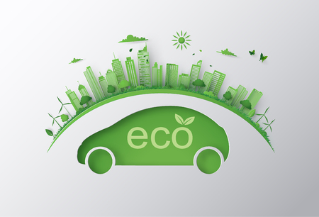 Concept of eco car and environment  with green city on earth. paper art 3d  from digital craft .