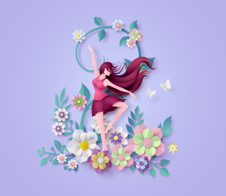 International Womens Day 8 march with frame of flower and leaves , Paper art 3d from digital craft style.