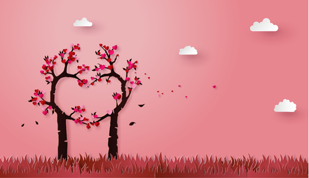 concept of love and valentine day with love tree, paper art 3d from digital craft.