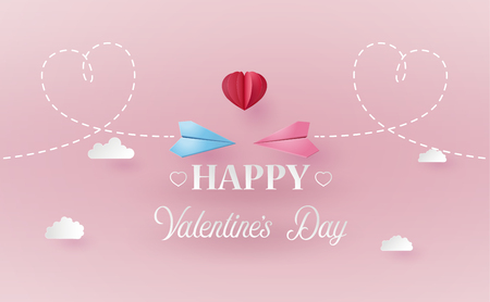 Concept of valentine day with paper plane flying on the sky , Paper art 3d .