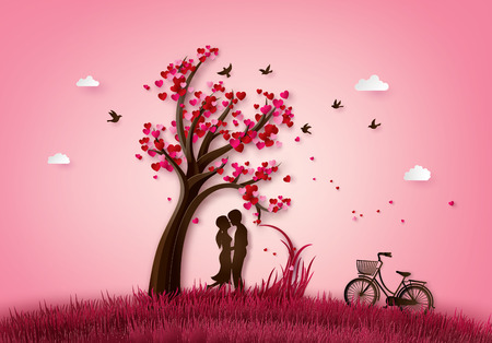 illustration  of love and valentine day two enamored under a love tree,paper 3d from digital craft. Фото со стока - 119957088