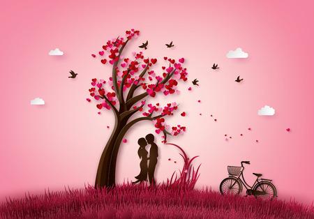 Illustration von Liebe und Valentinstag zwei verliebt unter einem Liebesbaum, Papier 3d aus digitalem Handwerk. Vektorgrafik