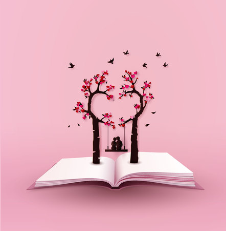 concept of love and valentine day with heart tree and cuple on the book, paper art 3d from digital craft. Illustration