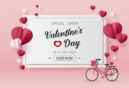 Venta de día de San Valentín con forma de corazón de globo. arte de papel 3d de estilo artesanal digital.
